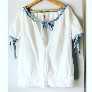 Free people white deep V oversized flowy top